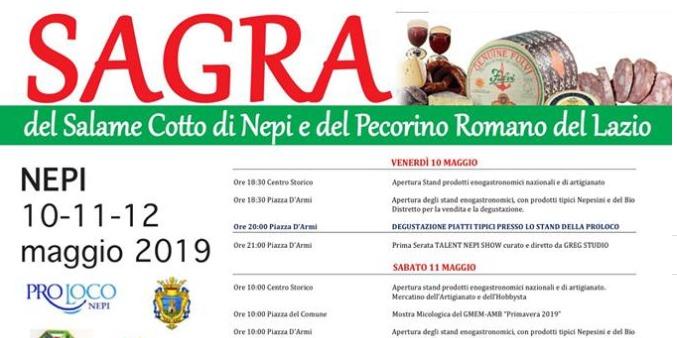 Sagra del Pecorino Romano del Lazio e del Salame Cotto nepesino. Programma 2019.